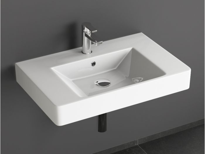 aqua bagno quadra soft keramik waschtisch 70cm wei waschbecken. Black Bedroom Furniture Sets. Home Design Ideas