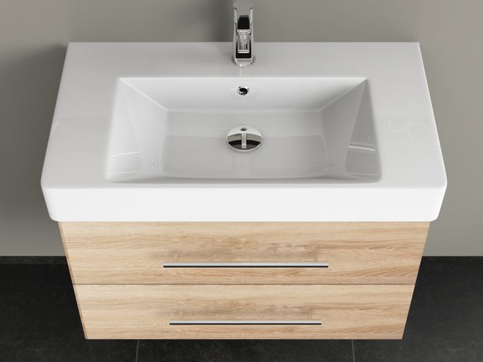 badm bel 80cm inkl keramik waschtisch und unterschrank eiche go. Black Bedroom Furniture Sets. Home Design Ideas